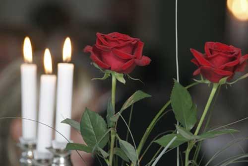 Billede af roser og lys